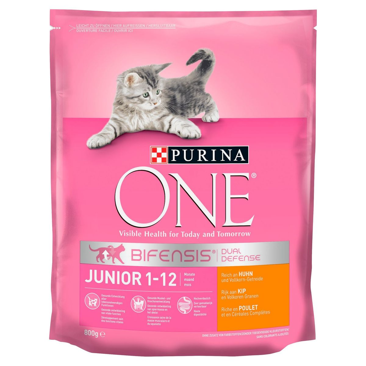 PURINA ONE BIFENSIS® Junior Kattenvoeding Kip en Volkoren Granen 800 g