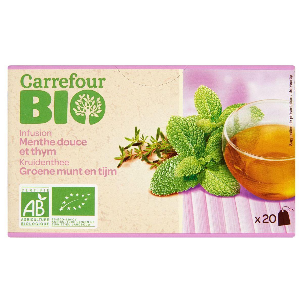 Carrefour Bio Kruidenthee Groene Munt en Tijm 20 Zakjes 30 g