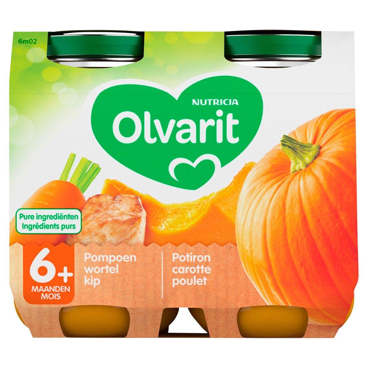 Olvarit Petit Pot Repas Bébé Potiron Carotte Poulet 6 Mois 2 x 200 g