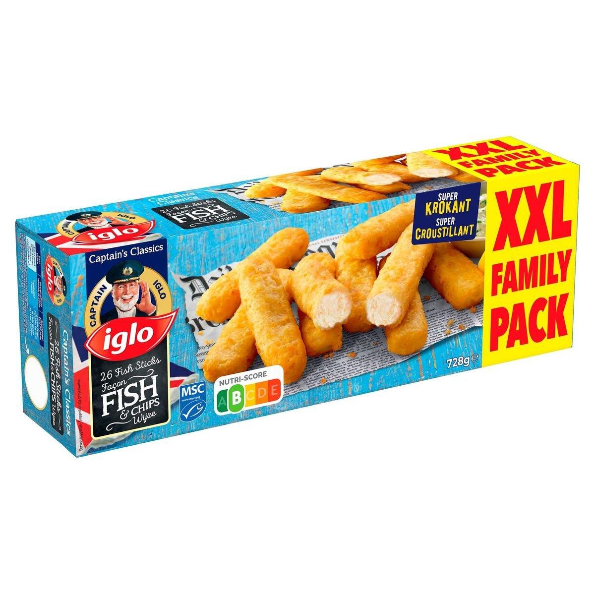 Iglo 26 Fish Sticks Fish & Chips Wijze 728 g