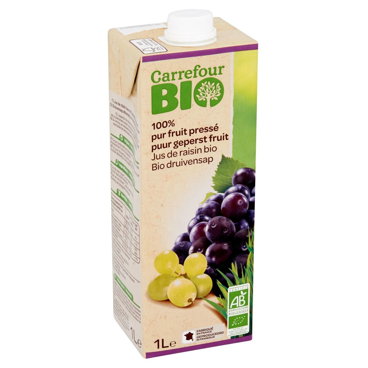 Carrefour Bio 100% Pur Fruit Pressé Jus de Raisin Bio 1 L