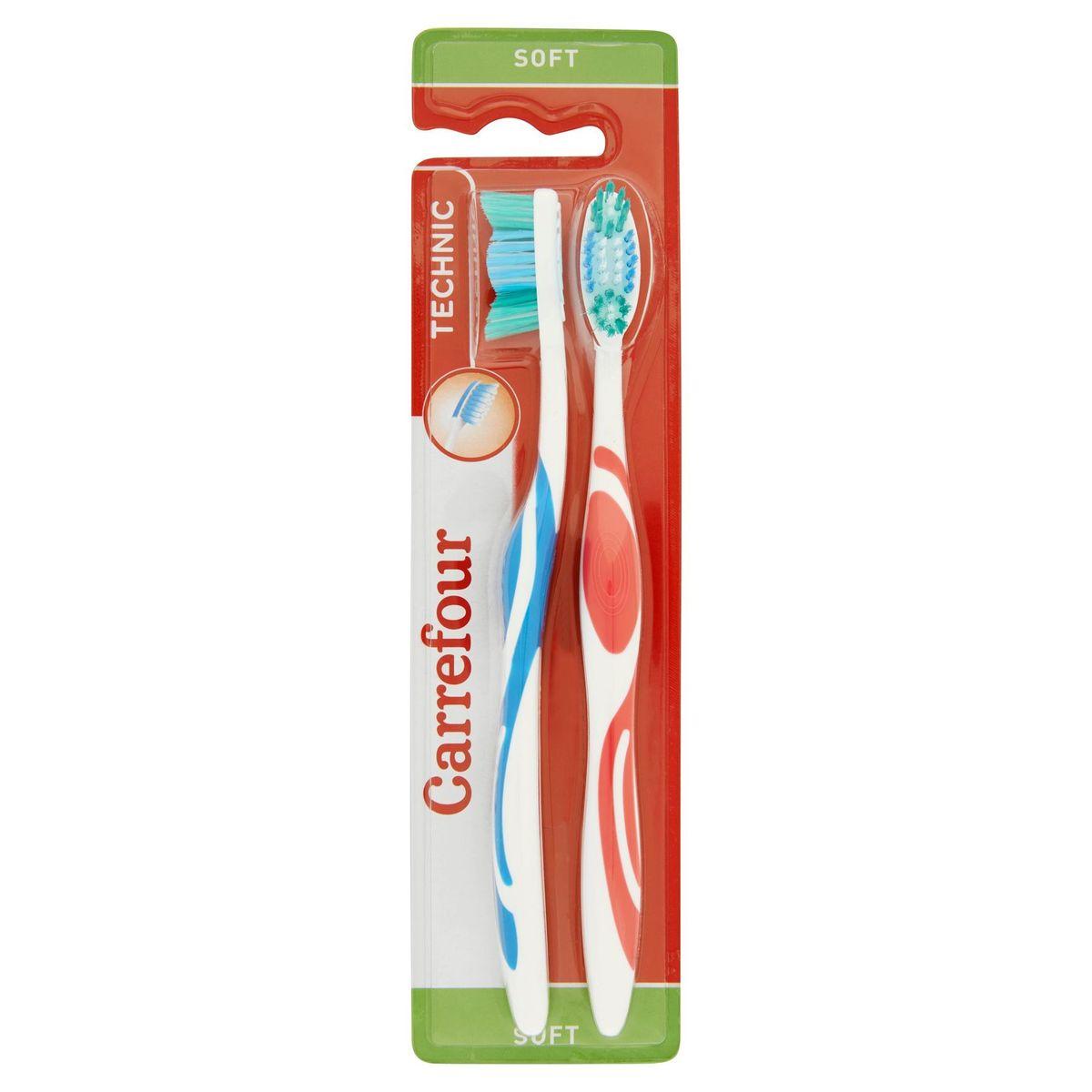 Carrefour Technic Brosse à Dents Soft 2 Pièces