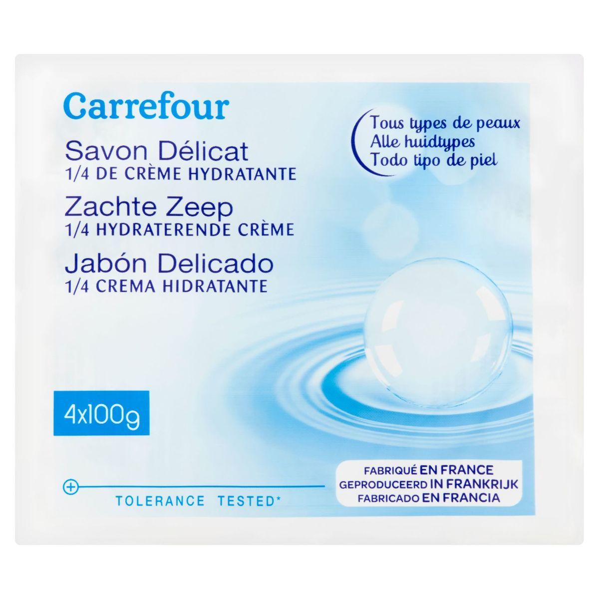 Carrefour Savon Délicat 1/4 de Crème Hydratante 4 x 100 g
