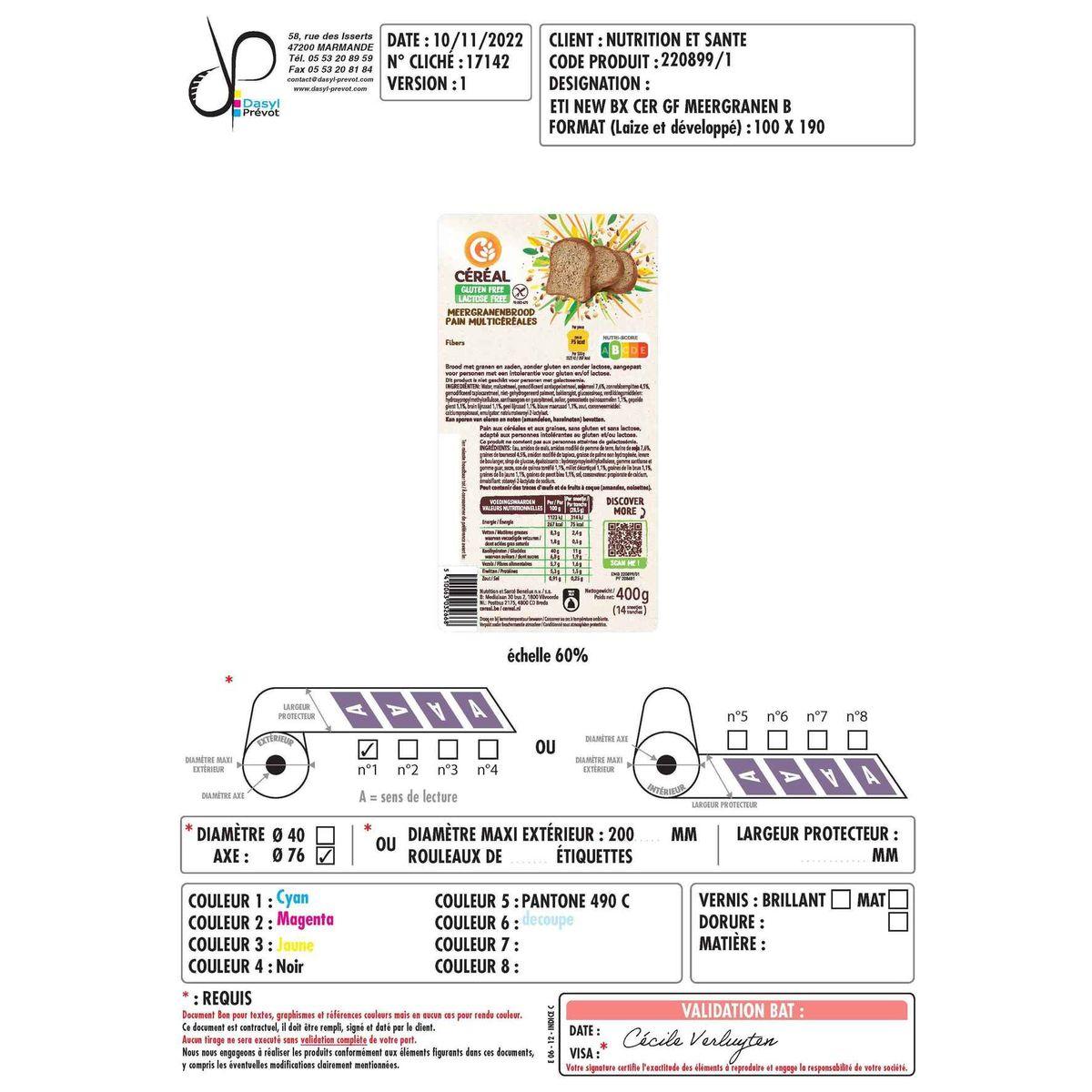 Céréal Glutenfree & Lactosefree Pain Multicéréales 400 g