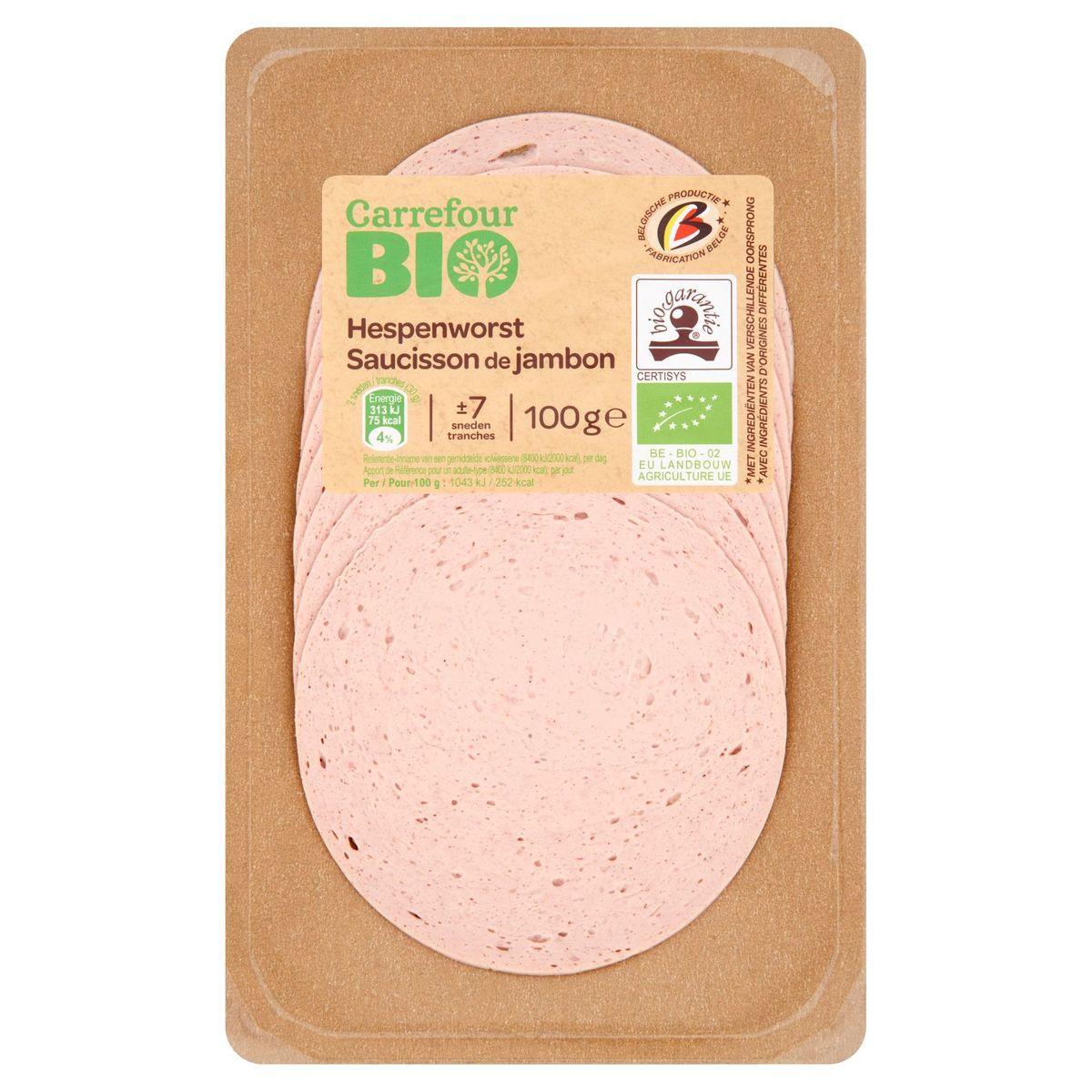 Carrefour Bio Saucisson de Jambon 100 g