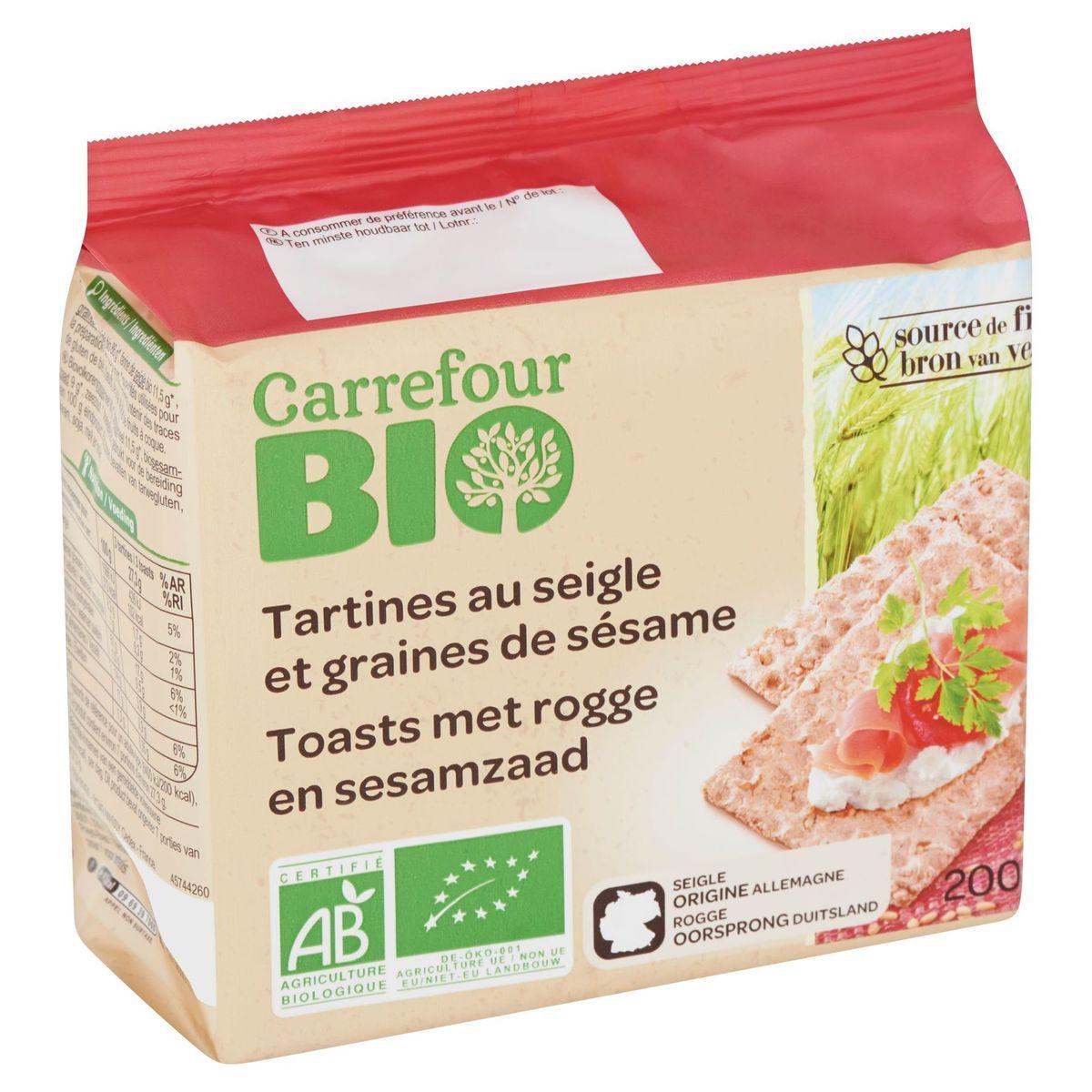 Carrefour Bio Tartines au Seigle et Graines de Sésame 200 g