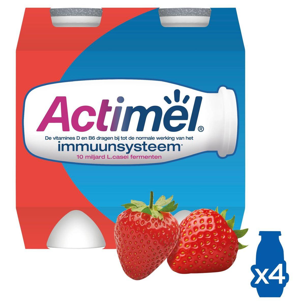 Actimel Yaourt à Boire Fraise contribue l'Immunité 4 x 100 g