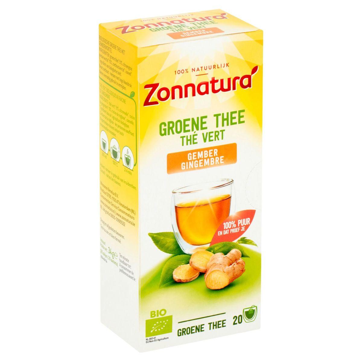 Zonnatura Bio Thé Vert Gingembre 20 Sachets 34 g