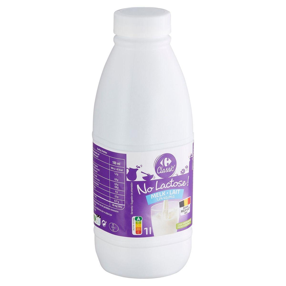 Carrefour No Lactose Lait 1.2% M.G. 1 L