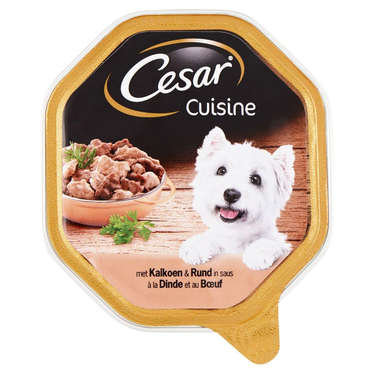 Aliment Chien Cesar Cuisine Barquette à la Dinde et au Bœuf 150 g