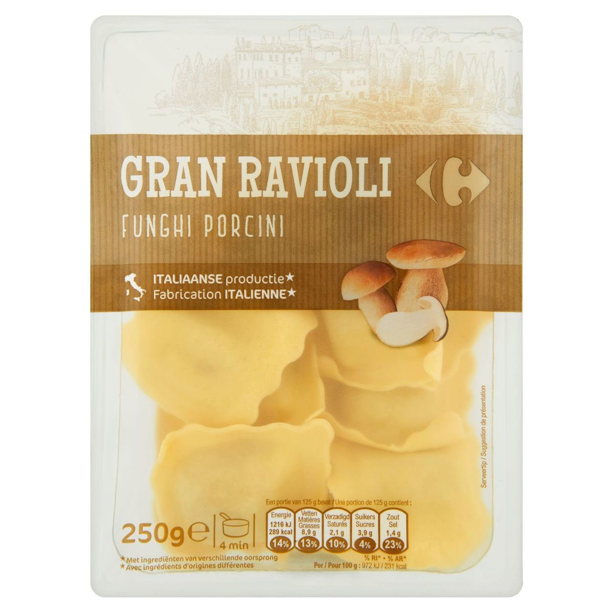 Carrefour Gran Ravioli Funghi Porcini 250 g