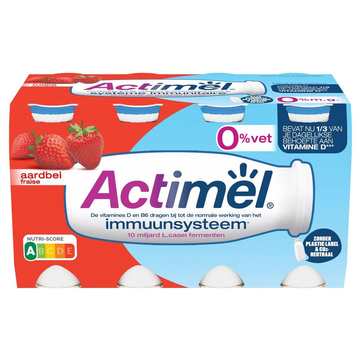 Actimel Yaourt à Boire Fraise 0% contribue l'Immunité 8 x 100 g