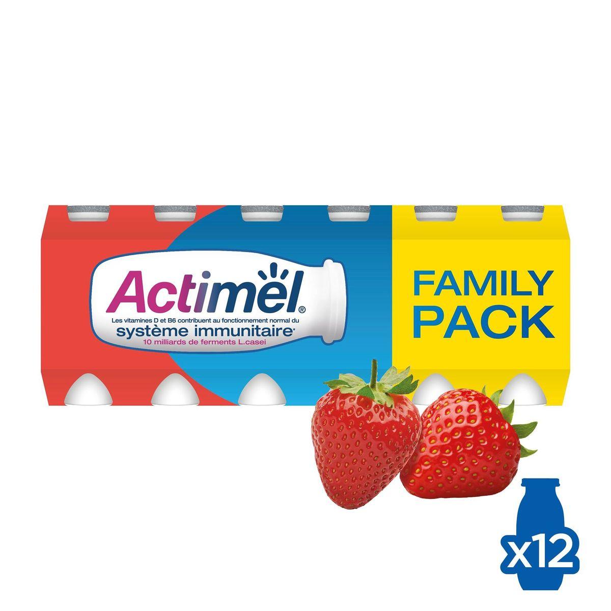Actimel Yaourt à Boire Fraise contribue l'Immunité 12 x 100 g
