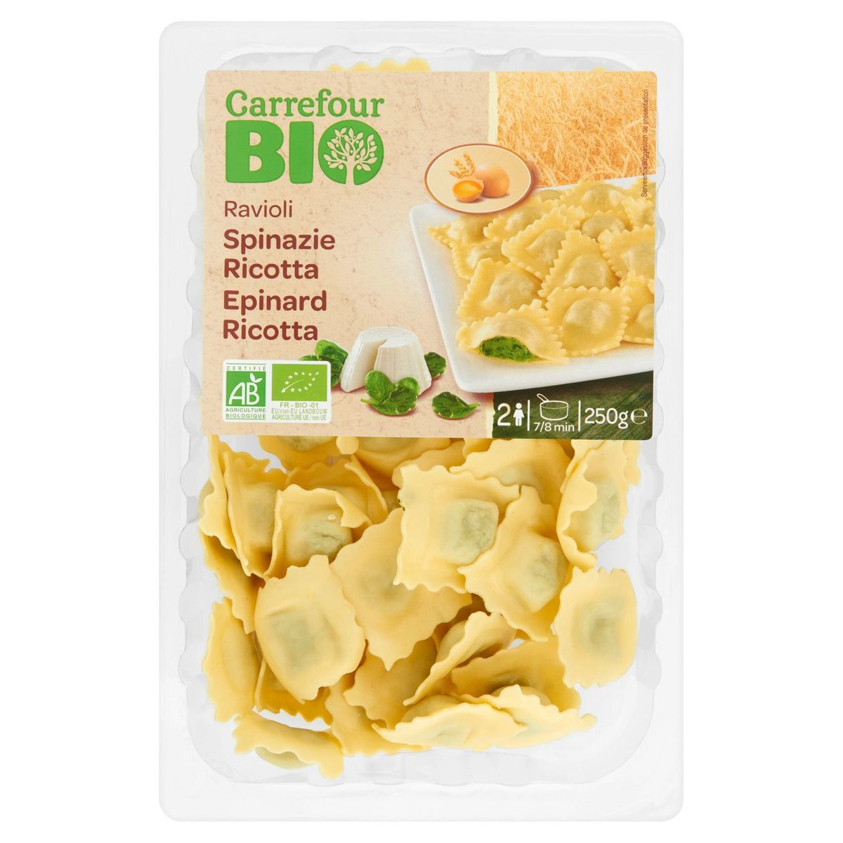 Carrefour Bio Ravioli Spinazie Ricotta 250 g
