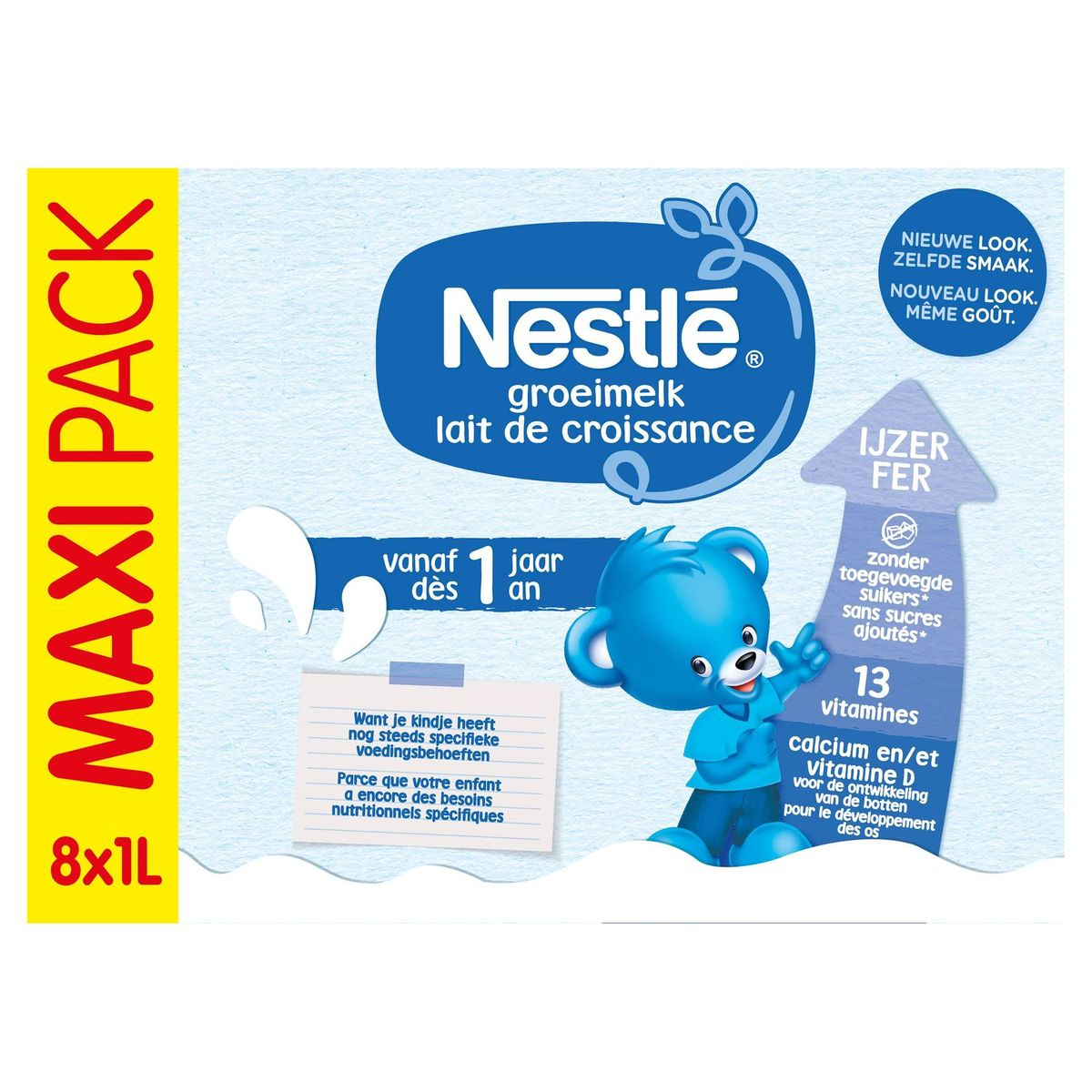 Nestlé Lait de Croissance 1+ dès 1 An Maxi Pack 8 x 1 L