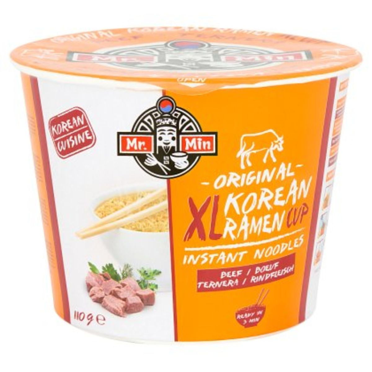 Mr. Min Original Korean Ramen Cup XL Instant Noodles Beef 110 g