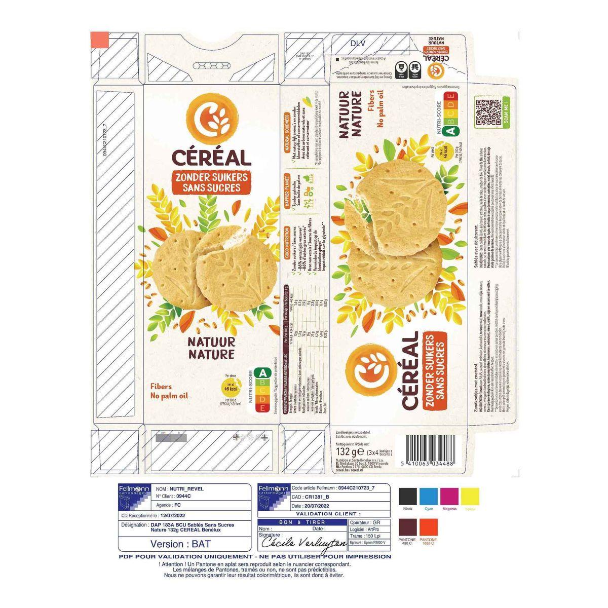 Céréal Sans Sucres Sablés Nature 3 x 4 Biscuits 132 g