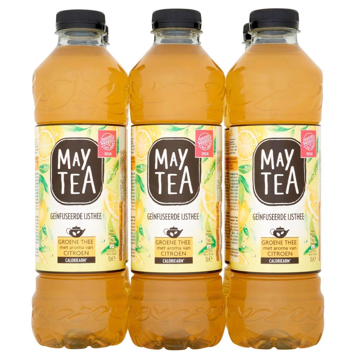 May Tea Geïnfuseerde Ijsthee Groene Thee met Aroma van Citroen  6 x 1 L
