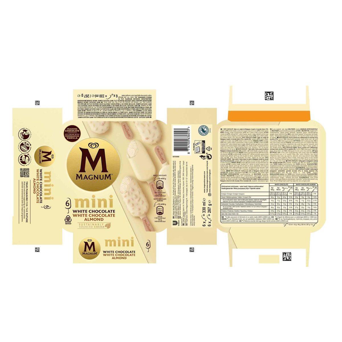 Magnum Ola Multipack Ijs Mini White - Almond White 6 x 55 ml