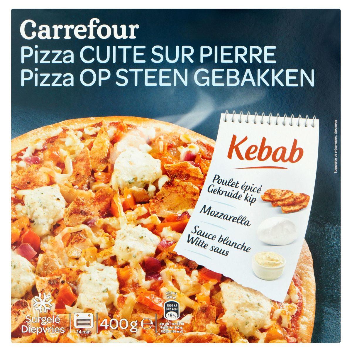 Carrefour Pizza op Steen Gebakken Kebab 400 g