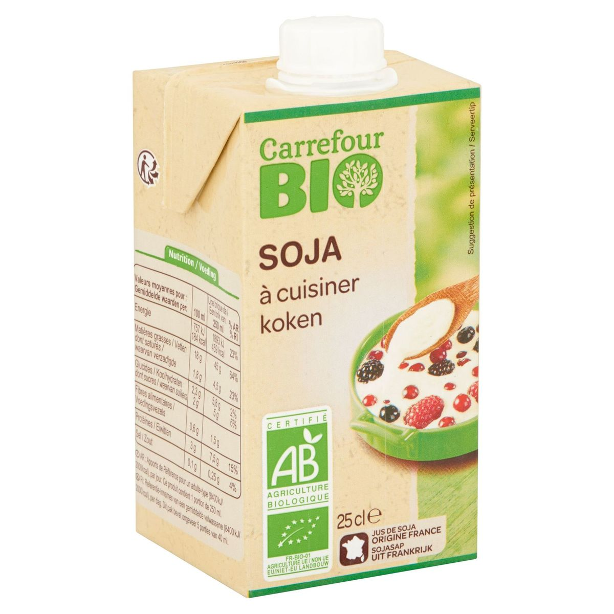 Carrefour Bio Soja à Cuisiner 25 cl