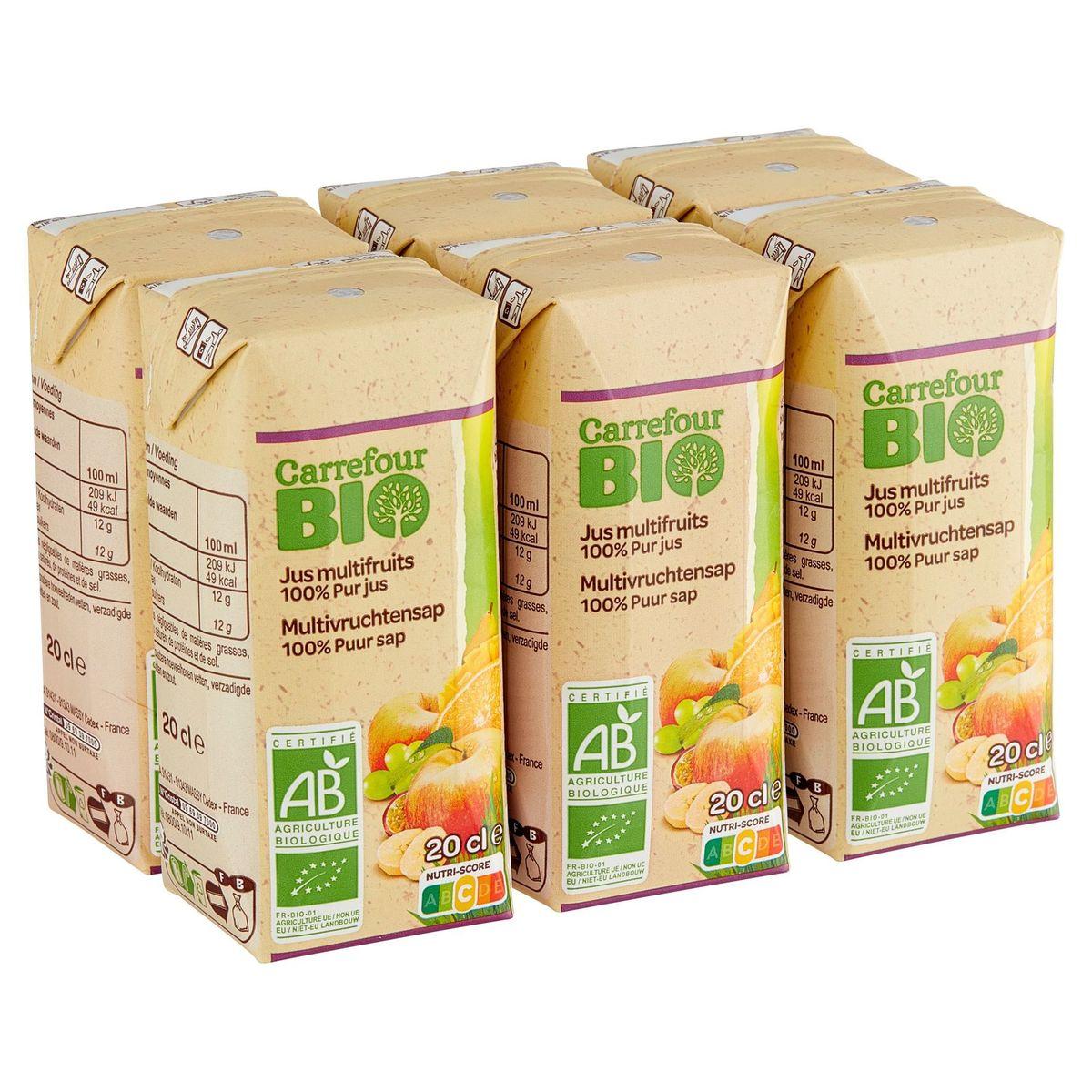 Carrefour Bio 100% Purs Fruits Pressés Jus Multifruits Bio 6 x 20 cl