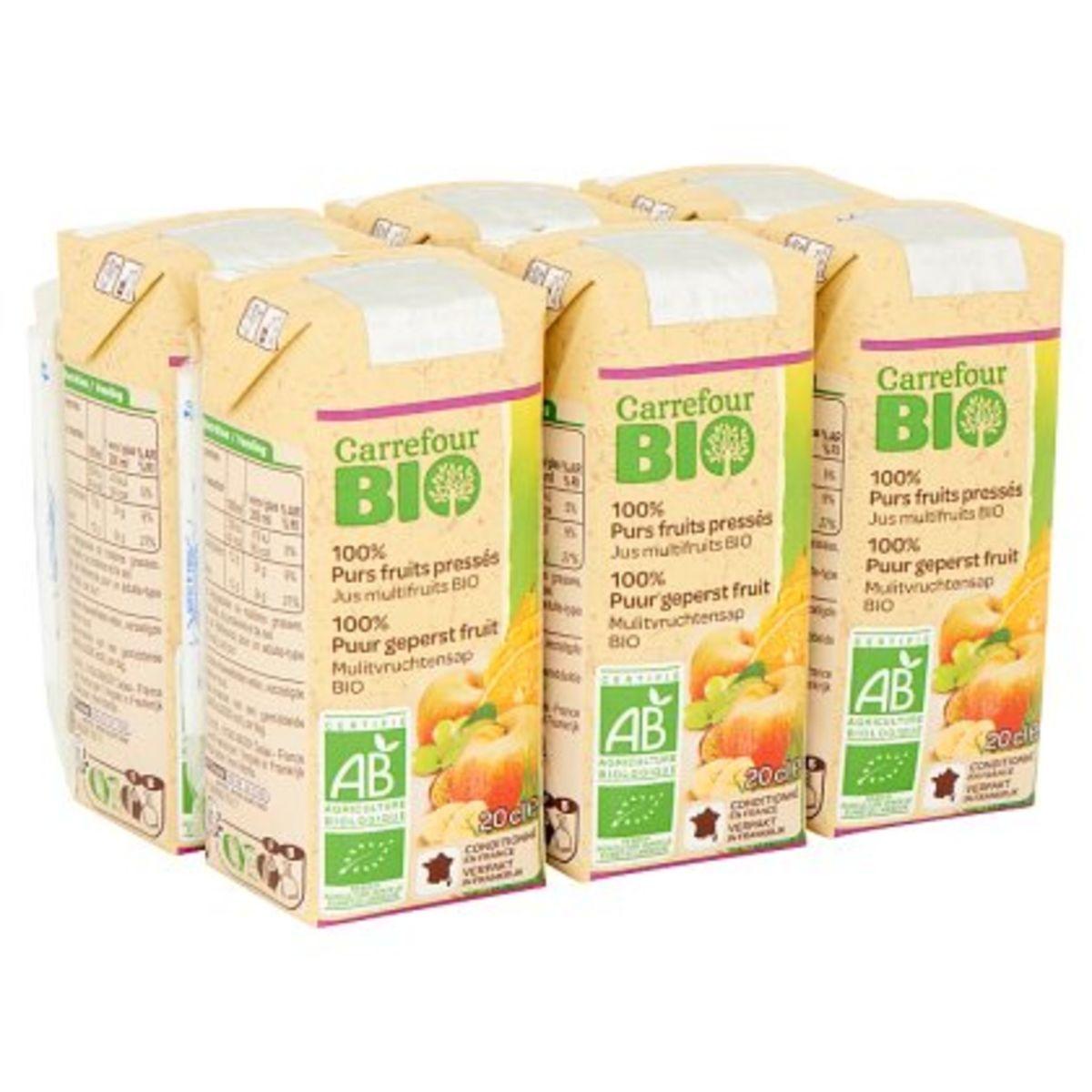 Carrefour Bio 100% Puur Geperst Fruit Mulitvruchtensap Bio 6 x 20 cl