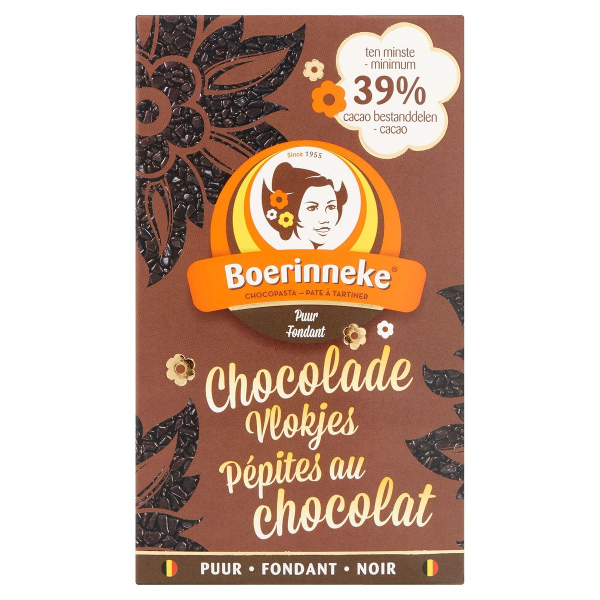 Boerinneke Chocolade Vlokjes Puur Fondant 350 g