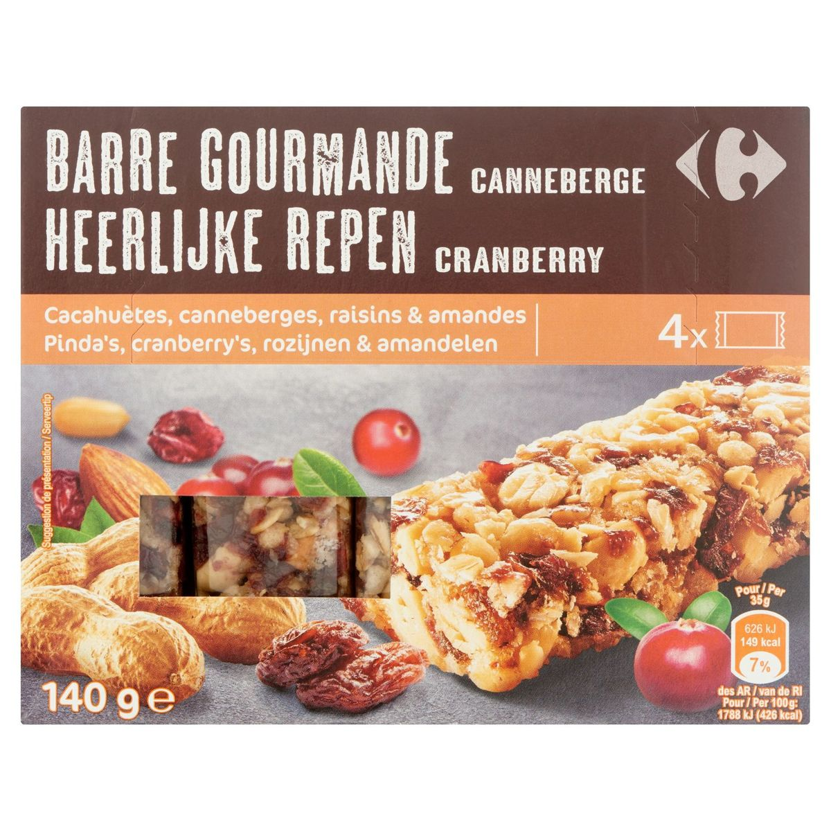 Carrefour Heerlijke Repen Cranberry 4 x 35 g