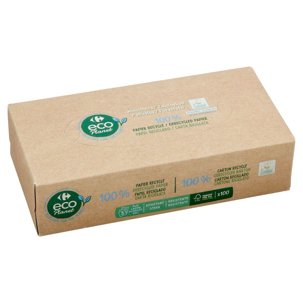 Carrefour Eco Planet Zakdoeken 3-Laags 100 Stuks