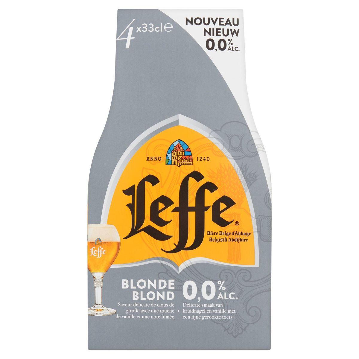 Leffe Bière Belge d'Abbaye Blonde 0.0% Alc. Bouteilles 4 x 33 cl