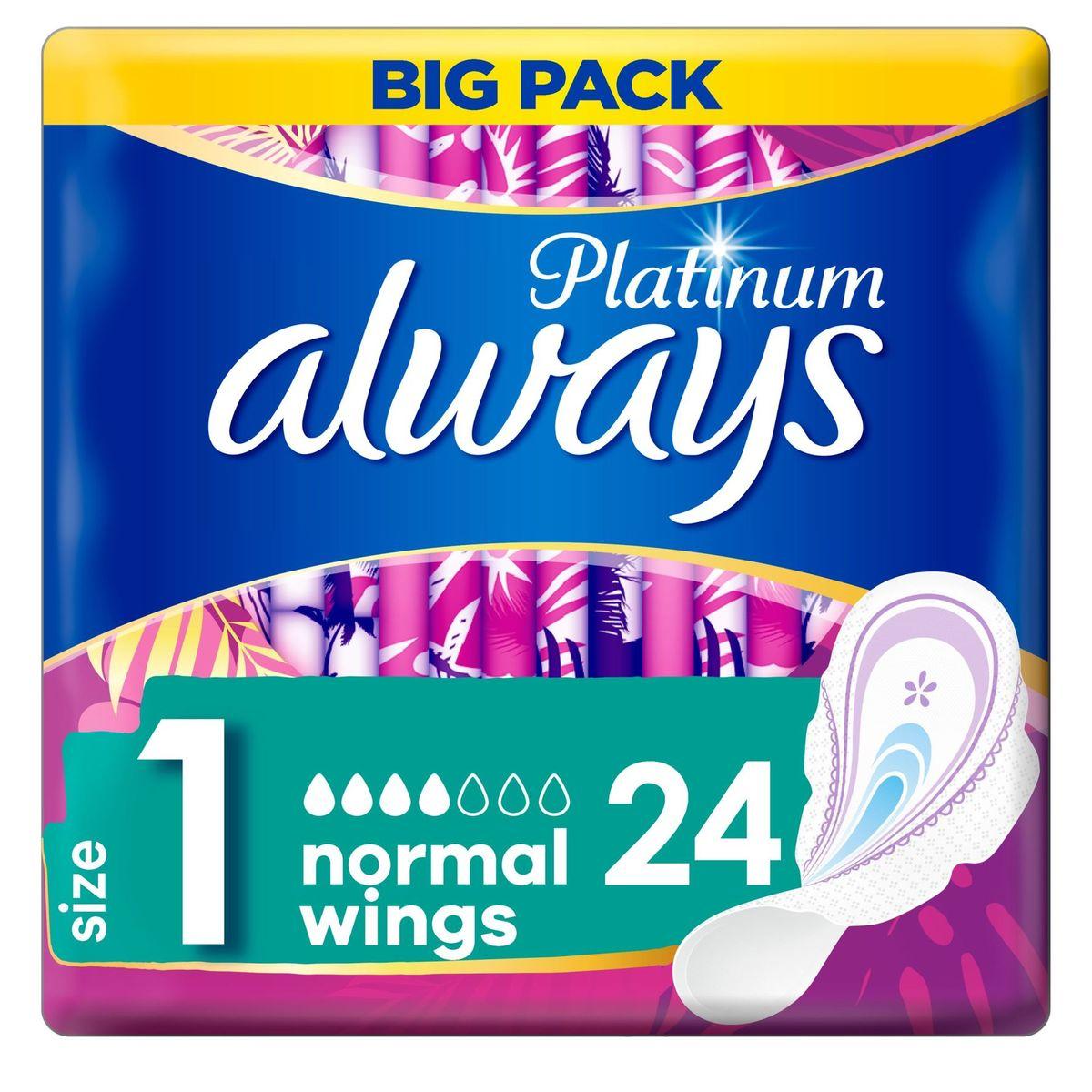 Always Platinum Normal (Maat 1) Maandverband Vleugels 24 stuks