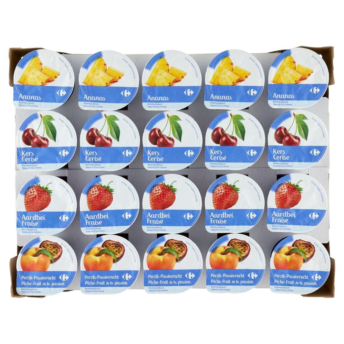 Carrefour Yaourt à la Crème Entier Ananas Cerise Fraise Pêche-Fruit de la Passion 20 x 150 g