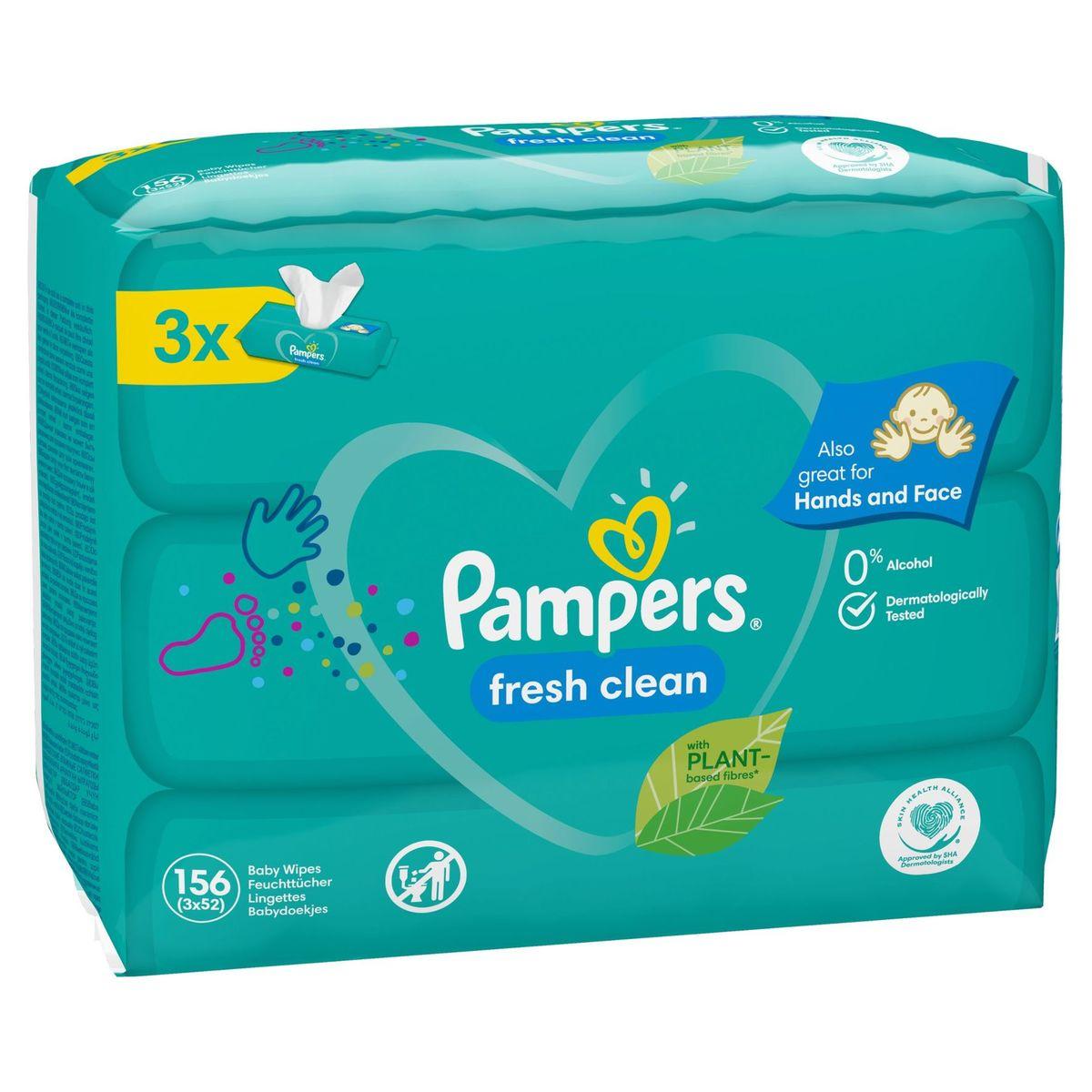 Pampers Fresh Clean Lingettes Bébé 3Paquets=156Lingettes