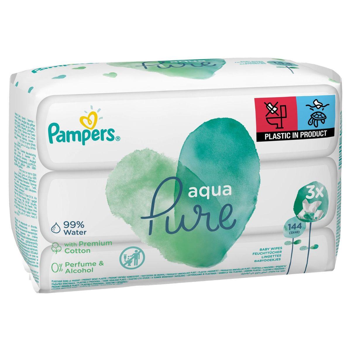 Pampers Aqua Pure Lingettes Pour Bébé 3Packs = 144Lingettes