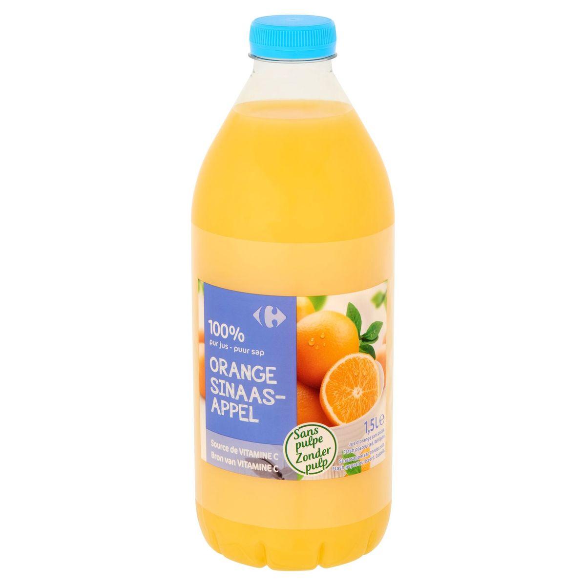Carrefour 100% Puur Sap Sinaasappel zonder Pulp 1.5 L
