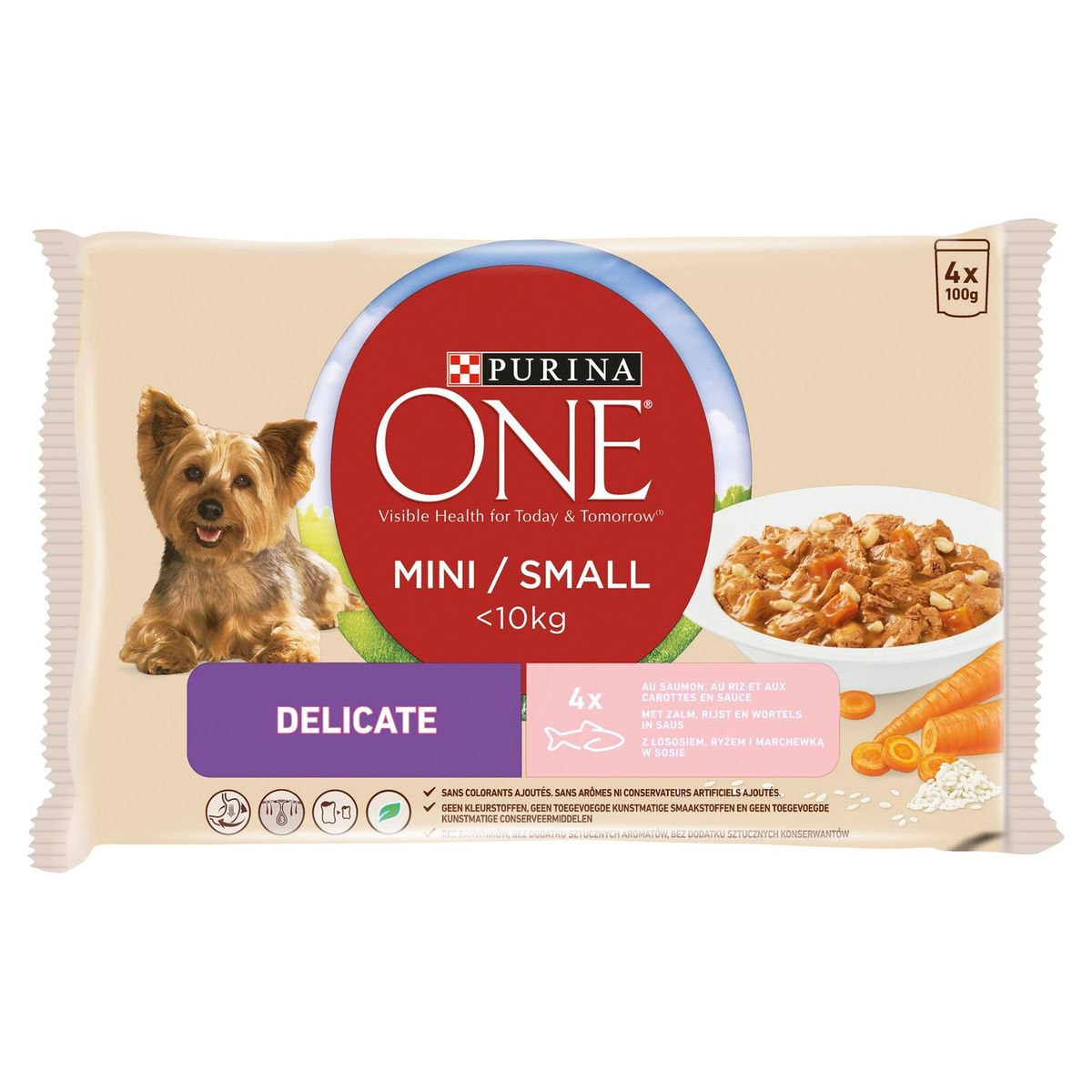 PURINA ONE Hondenvoer Mini <10 kg Delicate met Zalm, Rijst en Wortelen in Saus 4 x 100 g