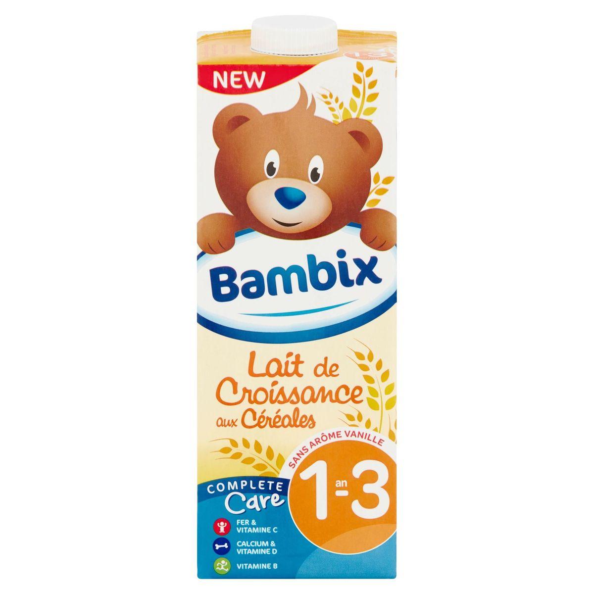 Bambix Lait de Croissance aux Céréales sans Arôme Vanille 1-3 An 1 L