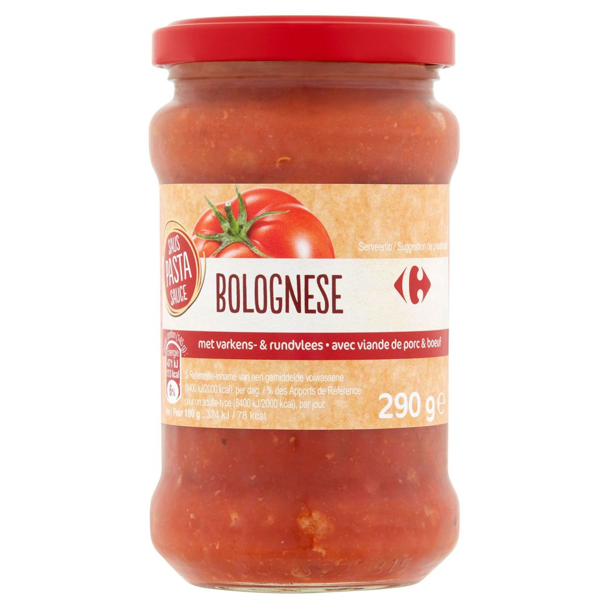 Carrefour Pasta Sauce Bolognese avec Viande de Porc & Boeuf 290 g