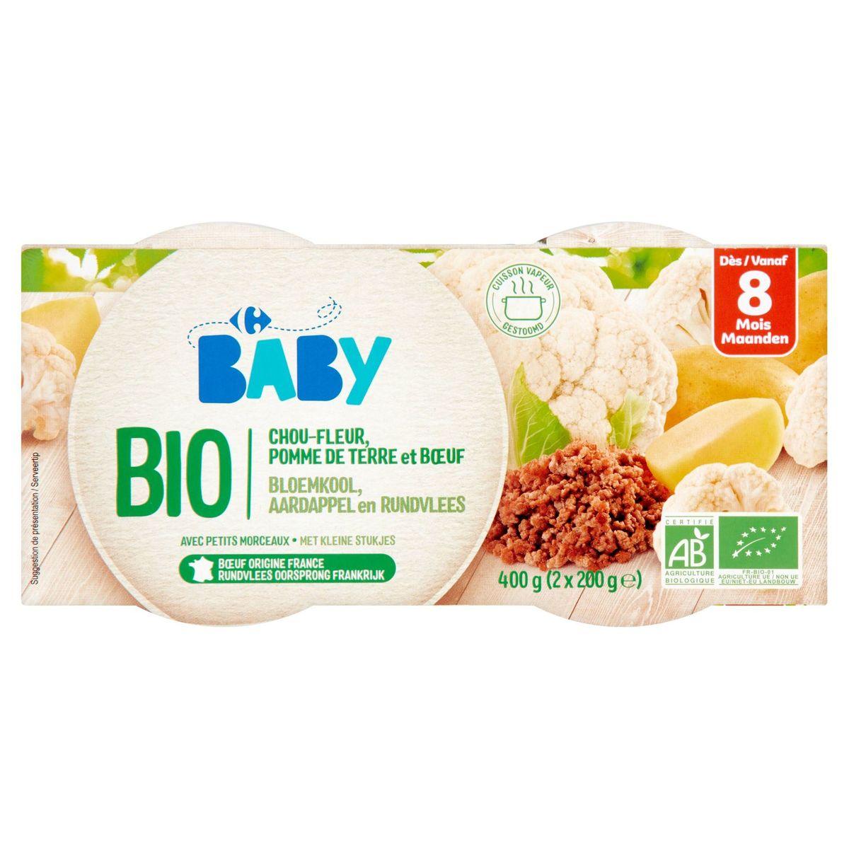 Carrefour Baby Bio Chou-Fleur, Pomme de Terre et Boeuf 8M+ 2 x 200 g