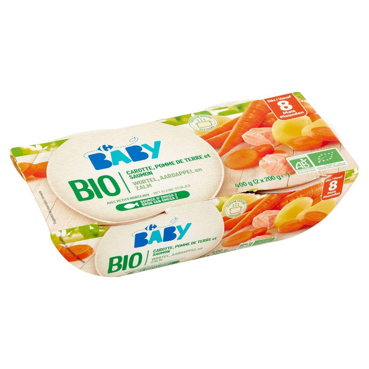 Carrefour Baby Bio Carotte, Pomme de Terre et Saumon 8M+ 2 x 200 g