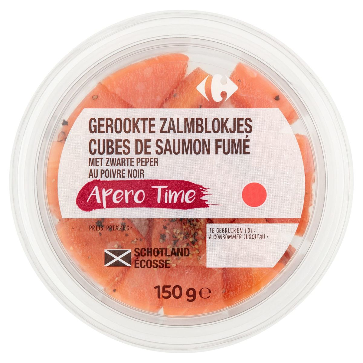 Carrefour Apero Time Cubes de Saumon Fumé au Poivre Noir 150 g