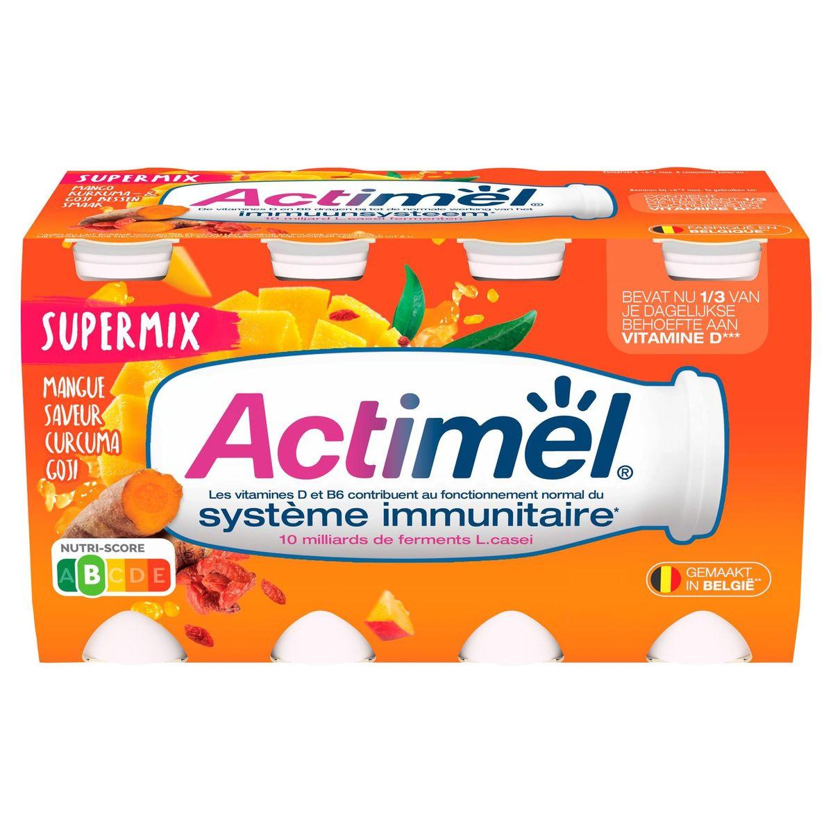 Actimel Supermix Yaourt à Boire Mangue-Curcuma-Goji 8 x 100 g