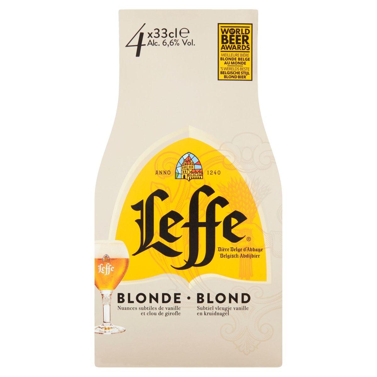 Leffe Bière Belge d'Abbaye Blonde Bouteilles 4 x 33 cl