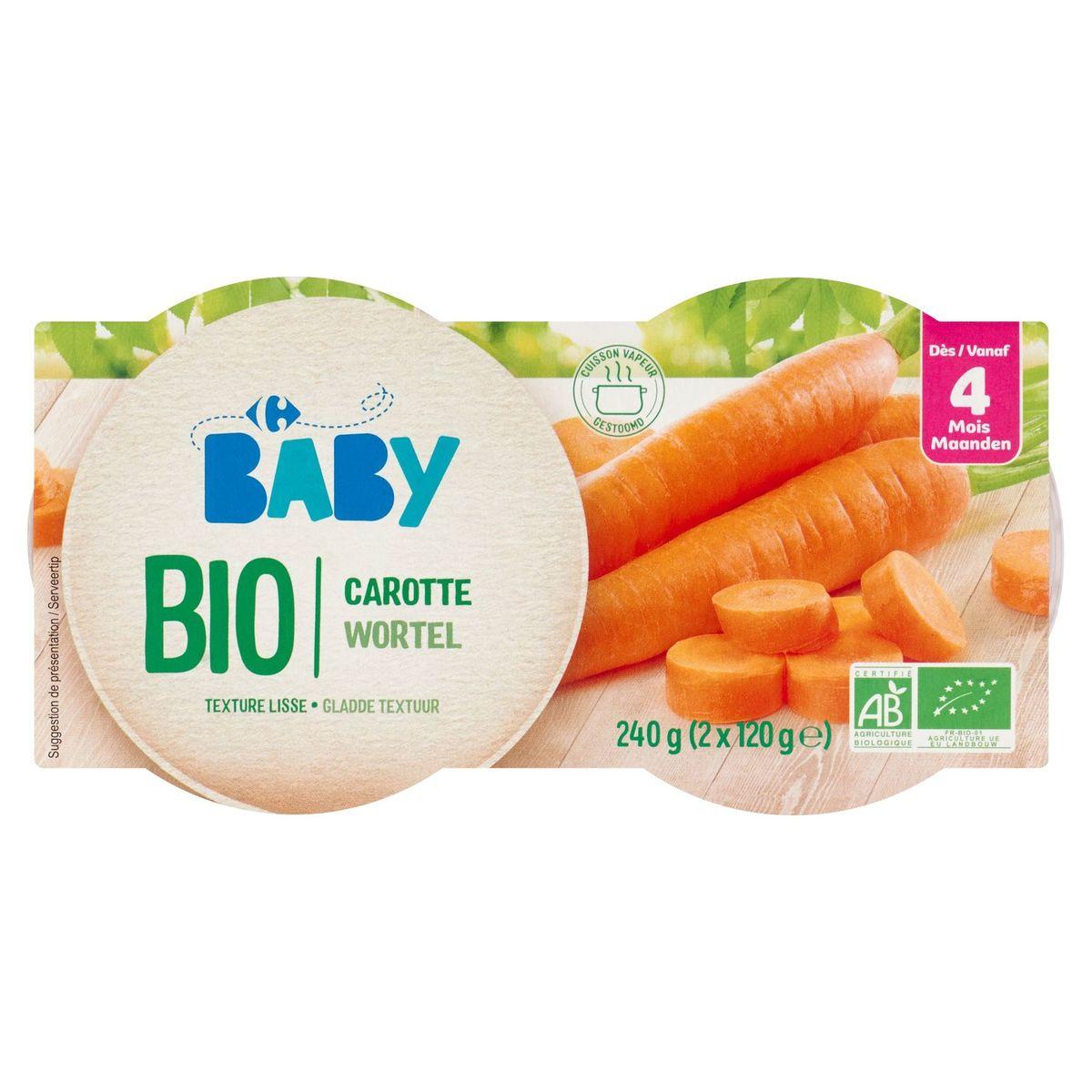 Carrefour Baby Bio Carotte dès 4 Mois 2 x 120 g