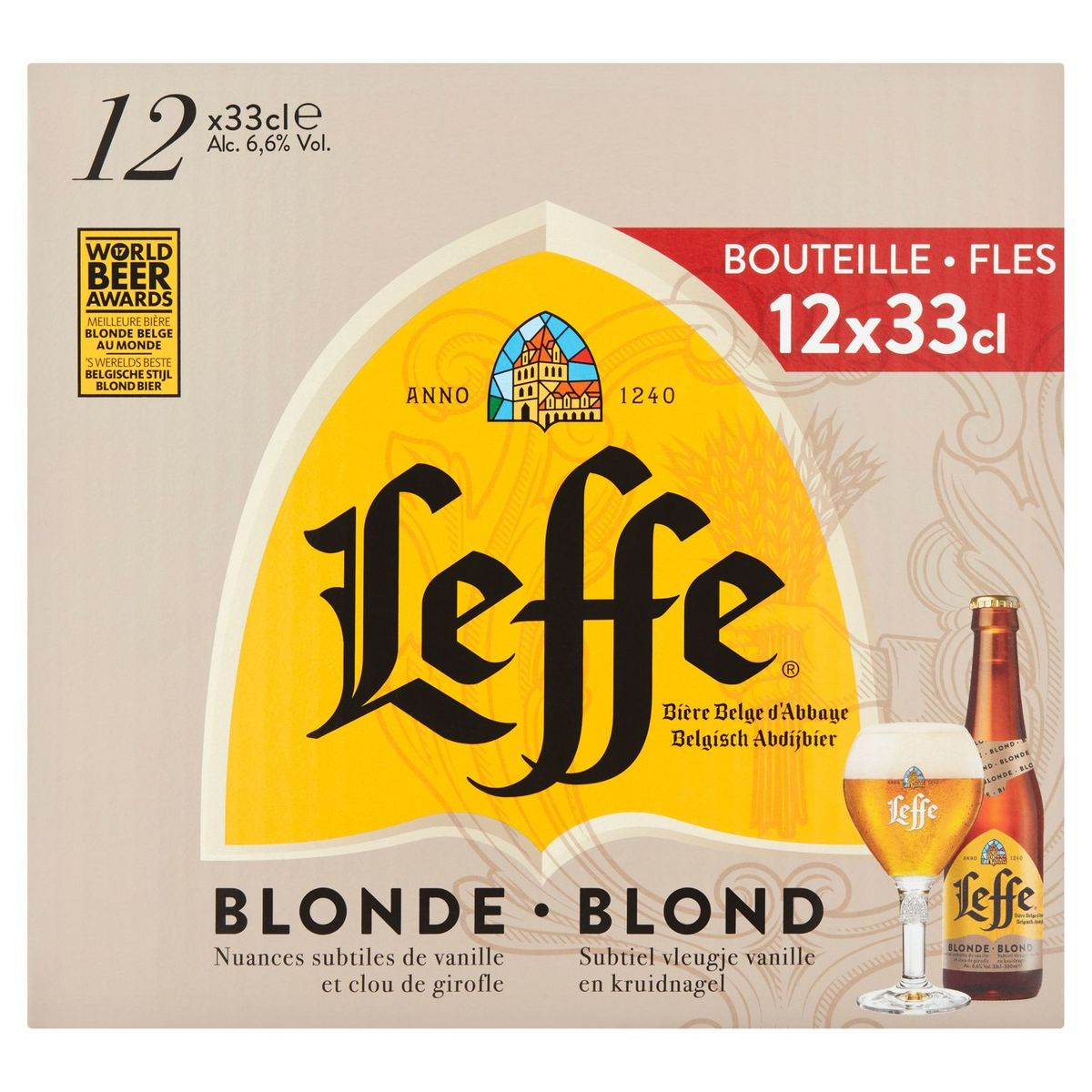 Leffe Belgisch Abdijbier Blond Flessen 12 x 33 cl