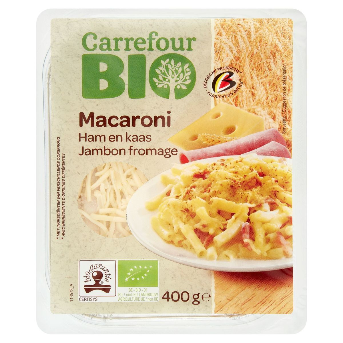 Carrefour Bio Macaroni Jambon Fromage 400 g