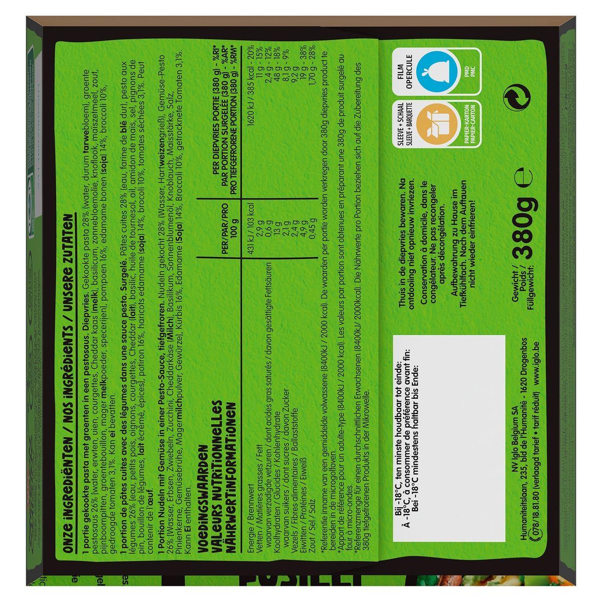 Iglo Veggie Bowl Fusilli Pesto et Légumes 380 g