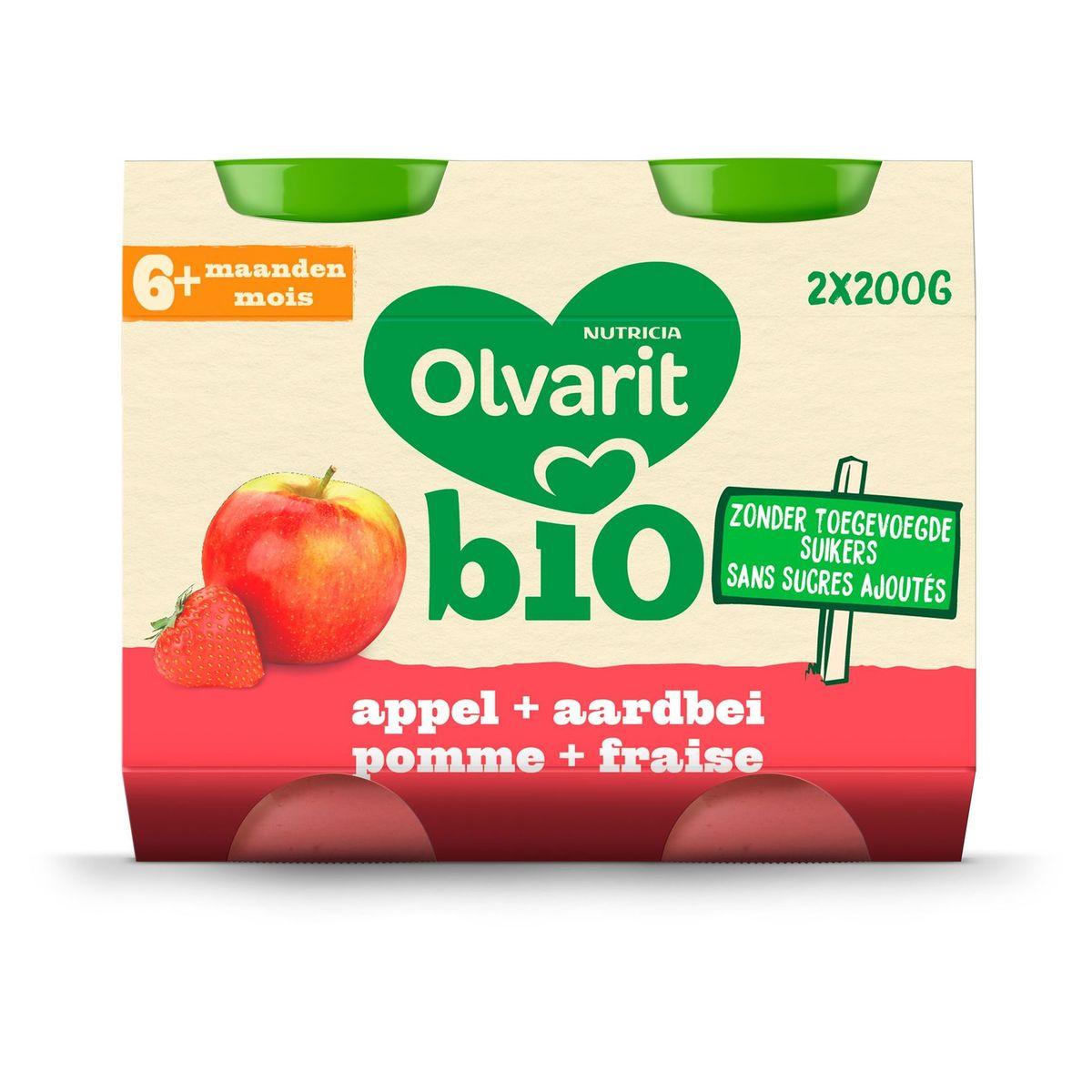 Olvarit Bio fruitpap babypuree Appel aardbei 6 maanden 2x200g