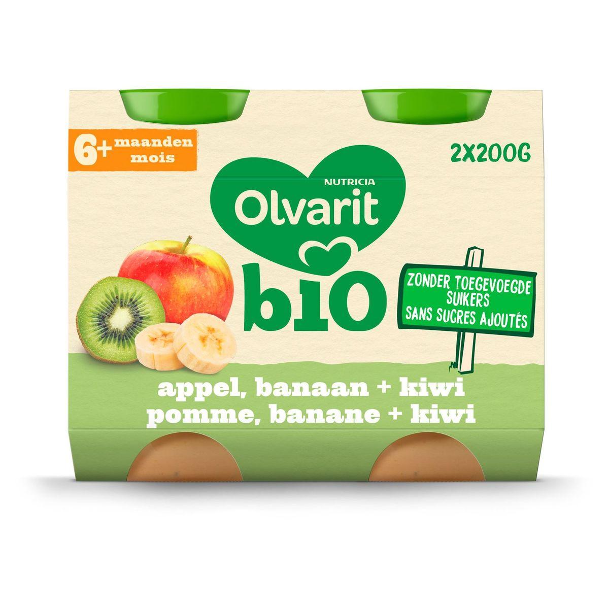Olvarit Bio fruitpap babypuree Appel banaan kiwi 6 maanden  2x200g